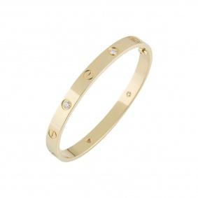 Cartier Unworn Yellow Gold Half Diamond Love Bracelet Size 17 B6035917
